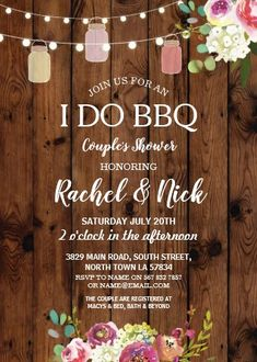 """I DO BBQ Couples Shower Jars Lights Wood Floral Invitation. Size: 5"""" x 7"""" Make custom invitations and announcements for every special occasion! Choose from twelve unique paper types, two printing options and six shape options to design a card that's perfect for you. Size: 5"""" x 7"""" (portrait) or 7"""" x 5"""" (landscape) Standard white envelope included Add photos and text to both sides of this flat card at no extra charge Use the """"Customize it!"""" CLICK IMAGE FOR MORE DETAILS. Creative Wedding Gifts, Best Wedding Gifts, Couples Wedding Shower Invitations, Custom Invitations, Colored Envelopes, White Envelopes, I Do Bbq, Jar Lights, Couple Shower"""