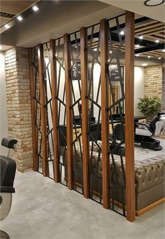 40 Beautiful Partition Wall Ideas - Engineering Discoveries - One Living Room Partition Design, Living Room Divider, Room Partition Designs, Tv Wall Design, Living Room Mirrors, Door Design, Living Room Decor, Partition Walls, Partition Ideas