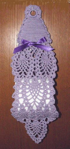 Crochet Pattern for a lustersheen victorian style hanging tissue holder Crochet Chart, Thread Crochet, Free Crochet, Knit Crochet, Crochet Patterns, Crochet Towel, Crochet Dishcloths, Fillet Crochet, Pineapple Crochet