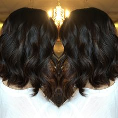 Dark brown balayage lob done by @ashleymichelleartistry