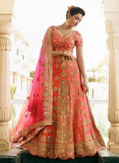 Looking to Buy Lehenga Online: Buy Indian lehenga choli online for brides at best price from Andaaz Fashion. Choose from a wide range of latest lehenga choli designs. * Express delivery, Shop Now! Lehenga Choli Designs, Ghagra Choli, Raw Silk Lehenga, Net Lehenga, Lehenga Choli Online, Anarkali, Pink Bridal Lehenga, Pink Lehenga, Bridal Lenghas