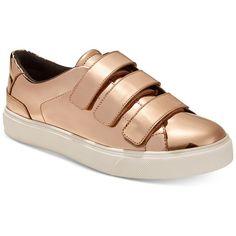 Aldo Women's Kaerinia Metallic Sneakers ($65) ❤ liked on Polyvore featuring shoes, sneakers, metallic, shiny shoes, polish shoes, aldo shoes, aldo footwear and velcro strap shoes