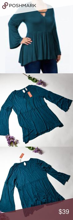 NWT AMERICAN RAG Deep Teal Cute Top - 1X Pretty top, great to wear with your favorite jeans!  •Size 1X Juniors •New with tags •No pets, Non Smoker Home •Bundle with at least one more item for a private discoun American Rag Tops