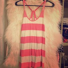 Striped Tank Top Baby pink and heather grey. Keyhole cut out back Hollister Tops Tank Tops