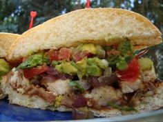 Mexican torta sandwich. I want to try making these on torta rolls from Costco. http://m.averagebetty.com/recipes/grilled-chicken-torta-recipe/