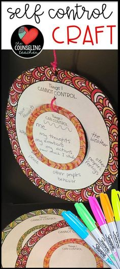 Self Control Activities Students will enjoy this calming zen activity that helps them distinguish between things that they can control and those that they cannot control. Once they learn to refocus on the things. Elementary School Counseling, School Social Work, School Counselor, Elementary Art, Counseling Activities, Art Therapy Activities, Therapy Ideas, Group Activities, Play Therapy