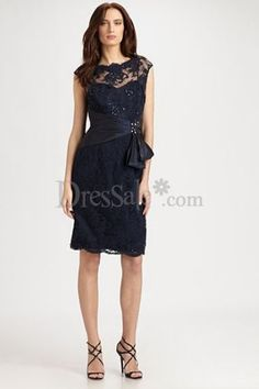 Flattering Lace-covered Navy Blue Dress with Scalloped Neck for Bridesmaid
