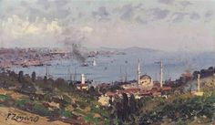 View of Nisantasi with the Dolmabahçe Mosque, Constantinople by Fausto Zonaro