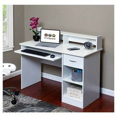 OneSpace Essential Computer Desk, Hutch, Pull-Out Keyboard, White : Target Computer Armoire, Computer Desk With Hutch, Corner Desk, Computer Desks, White Desk With Hutch, Armoires Diy, Office Storage Furniture, Cabinet Furniture, Woodworking Desk Plans