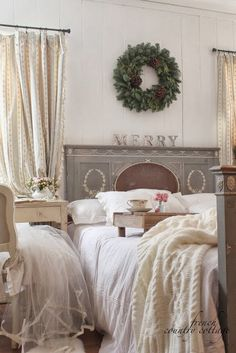 FRENCH COUNTRY COTTAGE: Guest Cottage this bed without the foot board would be perfect in the master bedroom