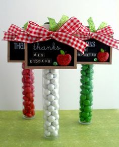 purchase miniature chalboards from a local craft store and use them as tags for Teacher Tubes