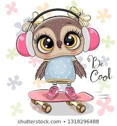Ð¡artoon owl on a skateboard with headphones. Cute cartoon owl on a skateboard with headphones vector illustration Cute Owl Drawing, Cute Bear Drawings, Animal Drawings, Owl Clip Art, Owl Art, Tier Doodles, Cute Owls Wallpaper, Dossier Photo, Cute Owl Cartoon