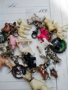 Vintage Dogs Charm Bracelet with Pink Poodle - vintage dogs charm bracelet, repurposed bracelet with dog charms including Bulldogs, Collie, Dachshund, Scottish Terrier, vintage dog charms