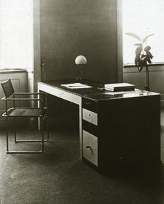 Marcel Breuer, Interior with Desk and Tubular Steel Chair, House of Ludwig Grote,1926. Table lamp by Wilhelm Wagenfeld. Bauhaus Dessau. Unknown photographer. Via Marcel Breuer Archives.