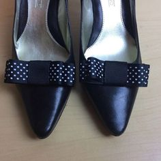 Cutest ever Audrey shoe clips  TO BUY: Comment with your email address, and you'll receive a secure checkout link.  Price: $17.00.  So this is some new grosgrain ribbon. It is 7/8 wide and black with tiny white polka dots.  If you need a particular color