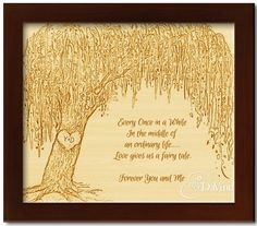 Framed Wood Engraved Willow Tree with Custom Text for Anniversary or Wedding Willow Leaf, Willow Tree, Anniversary Gifts For Him, 9th Anniversary, Popular Art, Cloudy Day, Natural Texture, Wood Art, Fine Art Paper