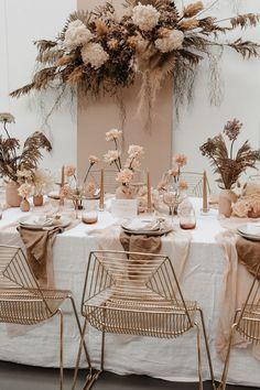 Wedding Table, Wedding Blog, Wedding Styles, Boho Wedding Decorations, Table Decorations, Neutral Wedding Decor, Photography Studio Spaces, Ribbon Bouquet, Flower Bouquets