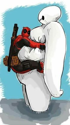 Deadpool y Baymax Deadpool Art, Deadpool Funny, Deadpool And Spiderman, Marvel Funny, Marvel Vs, Marvel Dc Comics, Deadpool Wallpaper, Marvel Wallpaper, Baymax