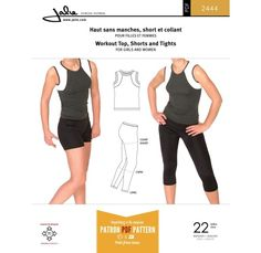 Jalie 2444 - Workout top, shorts and tights for girls and women