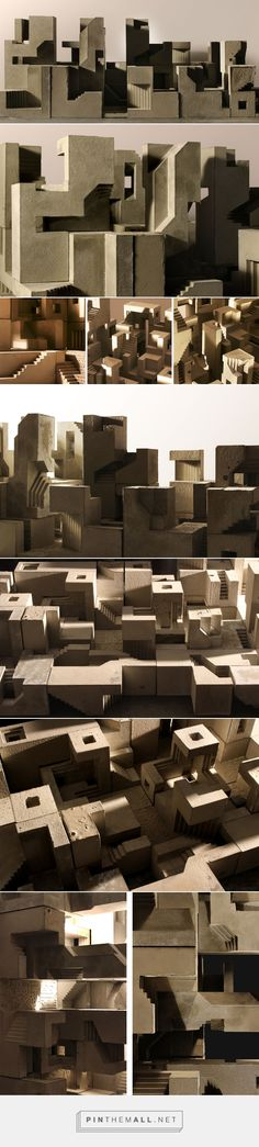 David Umemoto - soma cube city i Architecture Collage, Architecture Drawings, Contemporary Architecture, Architecture Details, Landscape Architecture, Architecture Portfolio, Arch Model, Ancient Buildings, Concrete Art