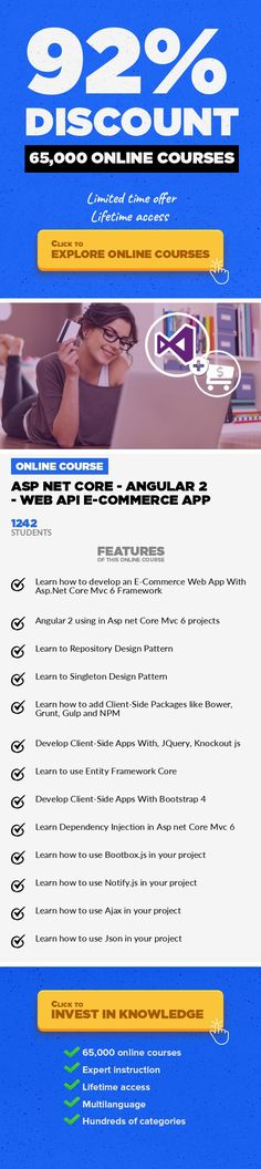 ASP NET CORE - ANGULAR 2 - Web API E-Commerce App Web Development, Development #onlinecourses #onlinedegreeuniversitiesinusa #onlineeducationinfographic  Create a e-commerce project with Asp Net Core,Angular 2,bootstrap 4,Paypal,Identity Core,Entity Framework Core,C#,WebAPI Psst : If you want to buy this course for $10 / €10 discounted price coupon use this code : HAPPYCORETEN. Added Last U...