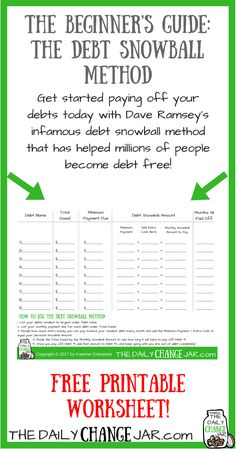you tried to pay off your debt and failed? This probably happened because you didn't have a clear cut plan in place. Click the image to find out how using the debt snowball method can help you pay off debt faster and easier! Pay Debt, Debt Payoff, Financial Peace, Financial Tips, Financial Assistance, Budgeting Finances, Budgeting Tips, Budgeting Worksheets, Pay Off Mortgage Early