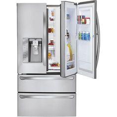 LG - Door-in-Door 30.3 Cu. Ft. 4-Door French Door Refrigerator with Thru-the-Door Ice and Water - Stainless-Steel - Front Zoom