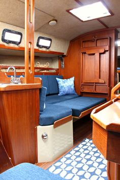 Ahoy! Tour Our Updated Ticon 30 Sailboat Interior. Such a fun home decor before…