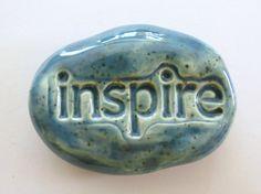 INSPIRE Pocket Stone  OCEAN MIST Art Glaze  by InnerArtPeace, $6.00