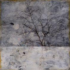 Nichole DeMent, Raven Moon, mixed media encaustic, x Abstract Landscape, Abstract Art, Wax Art, Alternative Photography, Light Of Life, Encaustic Painting, Tree Art, Mixed Media Art, Collage