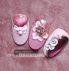 3d Nail Art, 3d Nails, Pink Nails, Acrylic Nails, Beautiful Nail Art, Gorgeous Nails, Nail Art Wheel, 3d Nail Designs, Nail Drawing