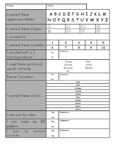 Pre-K Assessment. A quick little thing to keep in the classroom, instead of wondering what is it they know. Ask them a couple of quick questions. Easier to put them into A and B groups. Preschool Assessment, Kindergarten Readiness, Preschool Curriculum, Preschool Lessons, Preschool Kindergarten, Preschool Learning, Preschool Activities, Homeschooling, Preschool Checklist