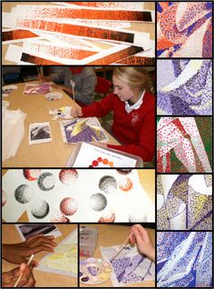 Pointillism Images Complimentary Color and Value Study