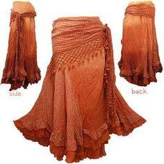 Boho Hippy Gypsy Crochet Tie Waist Shade Skirt G4 | eBay