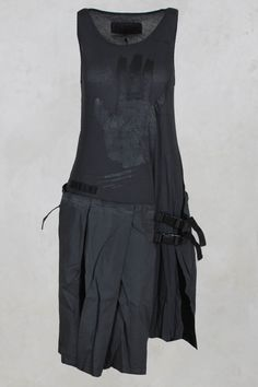 Hand Print Dress with Pleats in Anthrazitgrau - Rundholz Dip