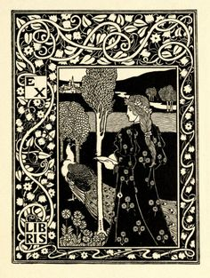 ≡ Bookplate Estate ≡ vintage ex libris labels︱artful book plates - Art Nouveau Bookplate by Louis Rhead