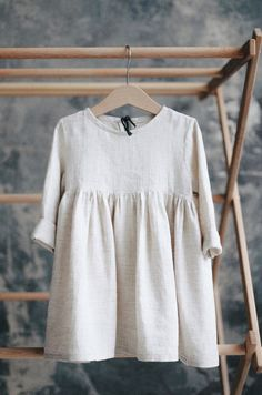 Beautiful Handmade Linen Baby Toddler Dress | TinyStoriesClothes on Etsy