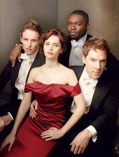 Eddie Redmayne, David Oyelowo, Felicity Jones et Benedict Cumberbatch.Photo Annie Leibovitz