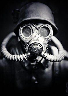 Soldado alemán con máscara de gas. #WW2