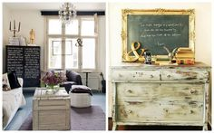 living space.  dresser.  gold ampersand.  Chalkboard Ideas via Grey Likes Nesting