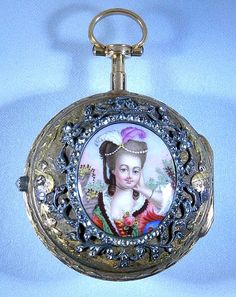 Fine and lovely Swiss 18K multi-color gold, brilliant and painted enamel pair case verge and fusee antique pendant watch by Colomby circa 1760.