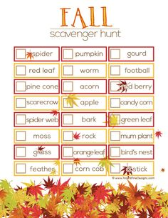 This free printable fall scavenger hunt activity encourages your child to explore the great outdoors!