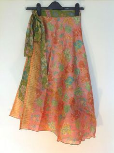 Striking Short Indian Silk-Blended Reversible Wrap Boho Skirts