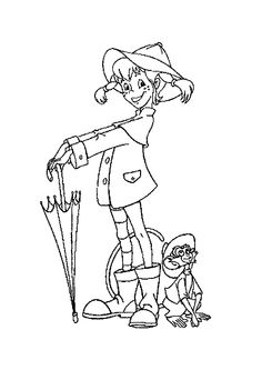 Pippi Longstocking rainy day coloring pages