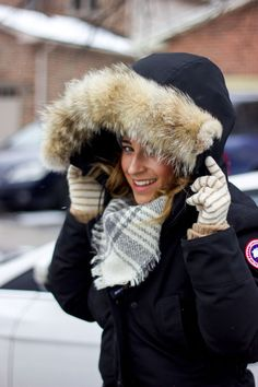 Canadian fashion and lifestyle blogger, Jackie of Something About That, is wearing a Canada Goose Jacket