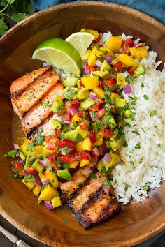 """Grilled Lime Salmon with Avocado-Mango Salsa and Coconut Rice"" by Jaclyn Bell on Cooking Classy; Servings: 4"