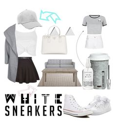 """white sneakers"" by myage0rge ❤ liked on Polyvore featuring NIKE, Topshop, Prada, Fitz and Floyd, Converse, Bare Escentuals, Jennifer Meyer Jewelry, New Look, ONLY and Joybird Furniture"
