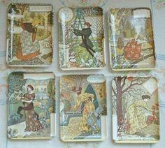 6/lot Vtg Italy Melamine Trays~Eugene Grasset~Art Nouveau Victorian Women~Garden (01/28/2013)