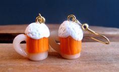 Beer Earrings Mug Earrings Polymer Food Earrings by YoungLad