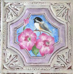 """""""Chickadee & Petunias"""" - acrylic on vintage ceiling tin"""